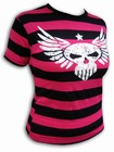 PINK PIRATE GIRLIE-SHIRT - WINGED SKULL