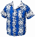 26 x HAWAII HEMD - FLOWERS & ANCHOR - DUNKELBLAU