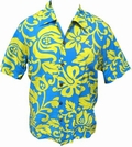 7 x KALAKAUA - ORIGINAL HAWAIIHEMD - ALOHI - BLUE YELLOW