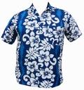 1 x HAWAII HEMD CLASSIC FLOWER - HELLBLAU