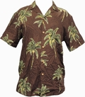 5 x ORIGINAL HAWAIIHEMD - COCONUT TREE - CHOCOLATE BROWN - PARADISE FOUND