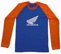 1 x HONDA LONG SLEEVE - BLAU/ORANGE - SHIRT