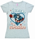 2 x LOGOSHIRT - MARVEL - MY BOYFRIEND IS A SUPERHERO  - GIRL SHIRT
