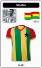 11 x GHANA TRIKOT - RETRO FUSSBALL TRIKOT GESTREIFT