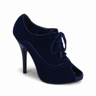 WINK-01 - DARKBLUE VELVET PEEP-TOE LACE-UP PUMP