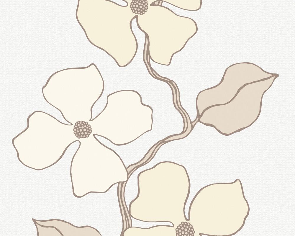 Esprit tapete city glam blumenmuster beige tapete for Blumenmuster tapete
