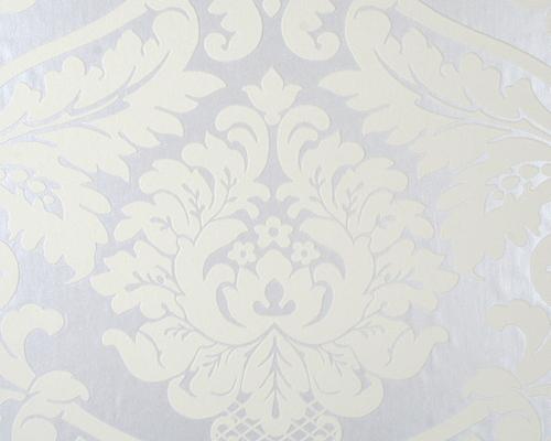 Muster Tapeten Grau Wei? : Flock – Metallic Weiss Tapete – Flock (Tapeten bei retro-tapeten.de