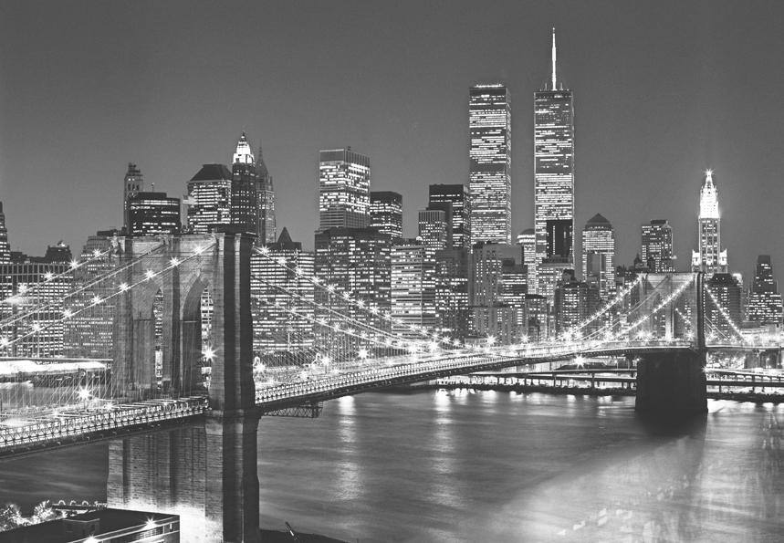 Schwarz Wei? Stadt Tapete : New York – Schwarz – Wei? – Brooklyn Bridge Tapete – Fototapete-Stadt